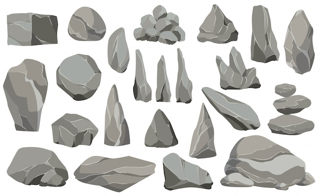 Rocks and stones single or piled for damage and rubble. large and small stones. set of flat design icons