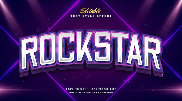 Rockstar text in colorful gradient with curved effect Premium Vector