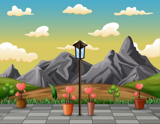 愛の花とロッキー山脈の風景