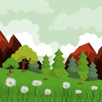 록 키 산맥 및 나무와 데이지 꽃밭