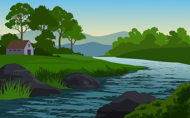 Rocky river in beautiful countryside
