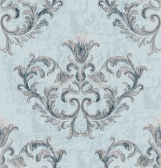 Rococo silver texture pattern with floral ornaments