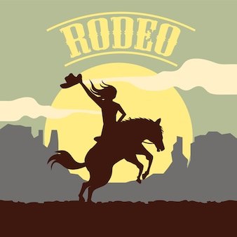 Rodeo background with silhouette