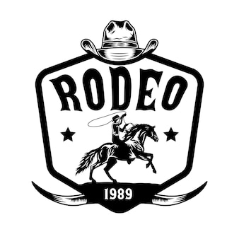 Rodeo cowboy riding horse on hand drawn