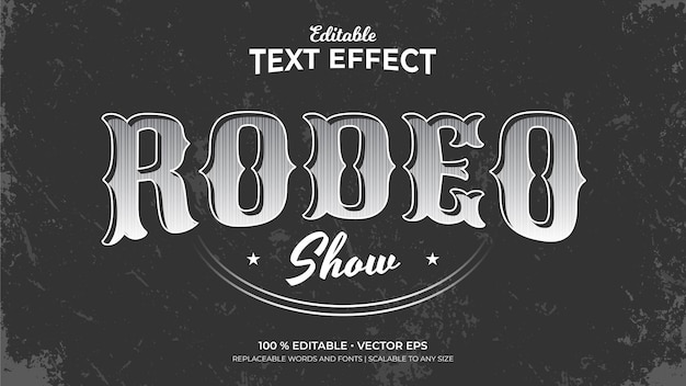 Rodeo show vintage style monochrome editable text effects