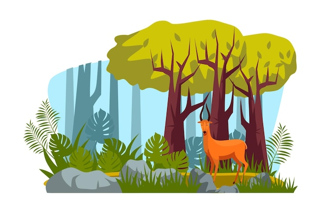 Roe deer wild animal character with antlers standing in tropical forest