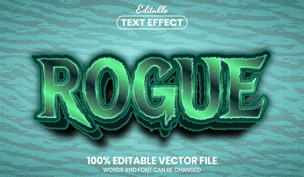Rogue text, font style editable text effect
