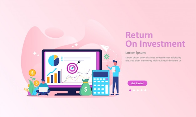 Roi, people managing financial chart, profit income landing page