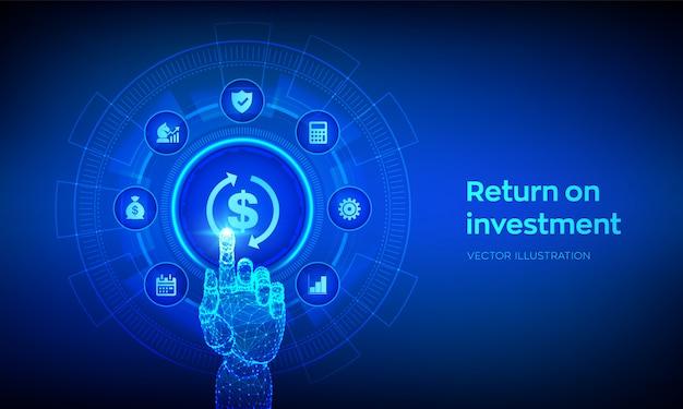 Roi。投資事業と技術コンセプトに戻ります。デジタルインターフェイスに触れるロボットの手。
