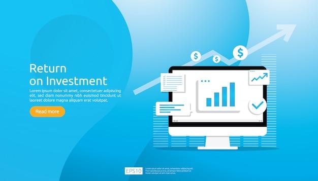 投資収益率のroiコンセプト。ビジネス成長矢印成功。チャートは利益を増やします。上昇する金融ストレッチ。