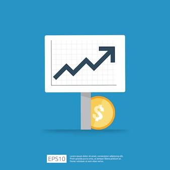 所得給与ドル率の増加統計。事業利益成長マージン収益。矢印で投資roiコンセプトの収益の財務パフォーマンス。コストセールアイコンフラットスタイル