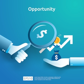 ビジネスアイデアの分析と機会の研究のコンセプトは、成長のグラフと拡大鏡を手に持っています。矢印要素のある投資収益率roiの図の財務実績