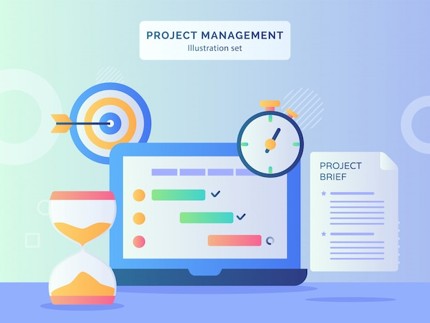 Roject management illustration set program checklist on display monitor laptop nearby hourglass stopwatch project brief paper target goal with flat style