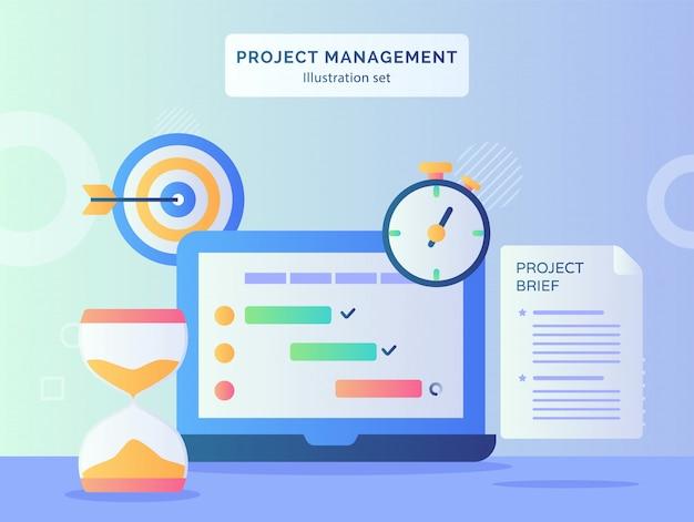 フラットスタイルでディスプレイモニターラップトップ近くのroject管理図セットプログラムチェックリスト砂時計ストップウォッチプロジェクトの簡単な紙の目標