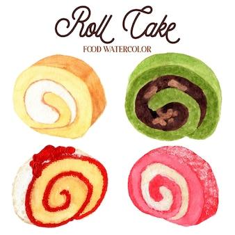 롤 케이크 음식 수채화 컬렉션