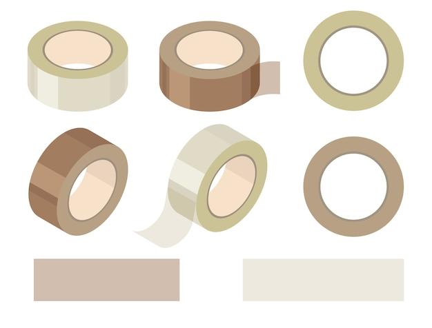 투명 및 갈색 접착 테이프 및 찢어진 줄무늬 롤. 문방구. 접착제 스카치 테이프 조각.