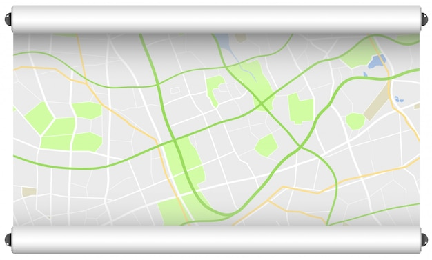 Roll of paper with street map