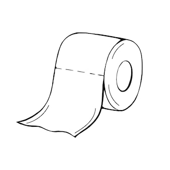 A roll of toilet paper in the doodle style