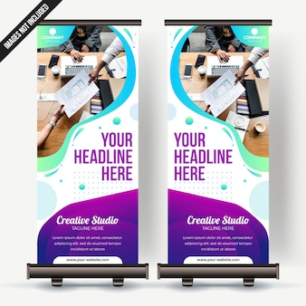Roll up banner business with colorfull gradient