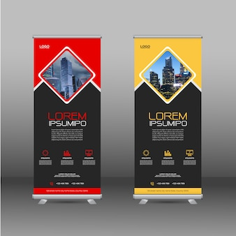 Roll up banner design template with abstract shapes
