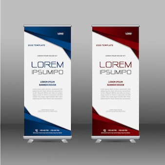 Roll up banner design with dark colors and shapes