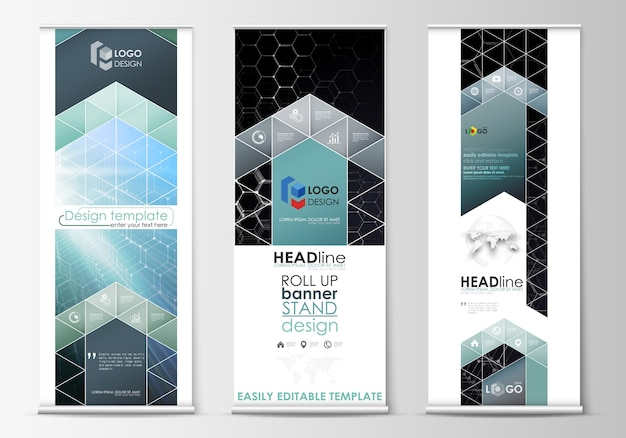 Roll up banner stands, abstract geometric style templates, corporate vertical vector flyers, flag layouts.