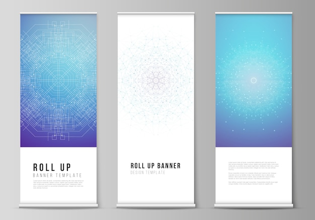 Roll up banner stands, vertical flyers, flags design business templates. big data visualization, geometric communication