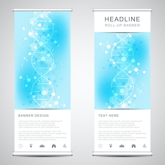Roll up banner stands with dna strand and molecular structure