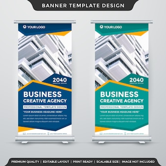 Roll up banner template design with abstract style use for promotion display