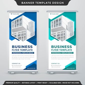 Roll up banner template layout with abstract style use for exhibition ads