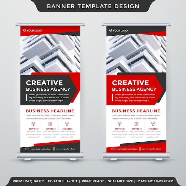 Roll up banner template layout with premium style use for business display and promotion ad