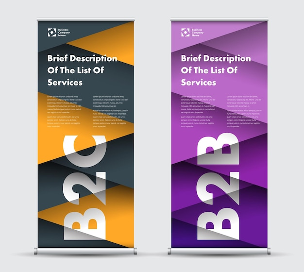 Roll-up banner templates with intersecting elements in triangles hovering above each other