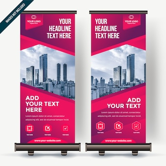 Roll up banner with colorfull gradient  pink purple