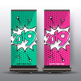 Roll up banner with happy new year 2019 in comic style
