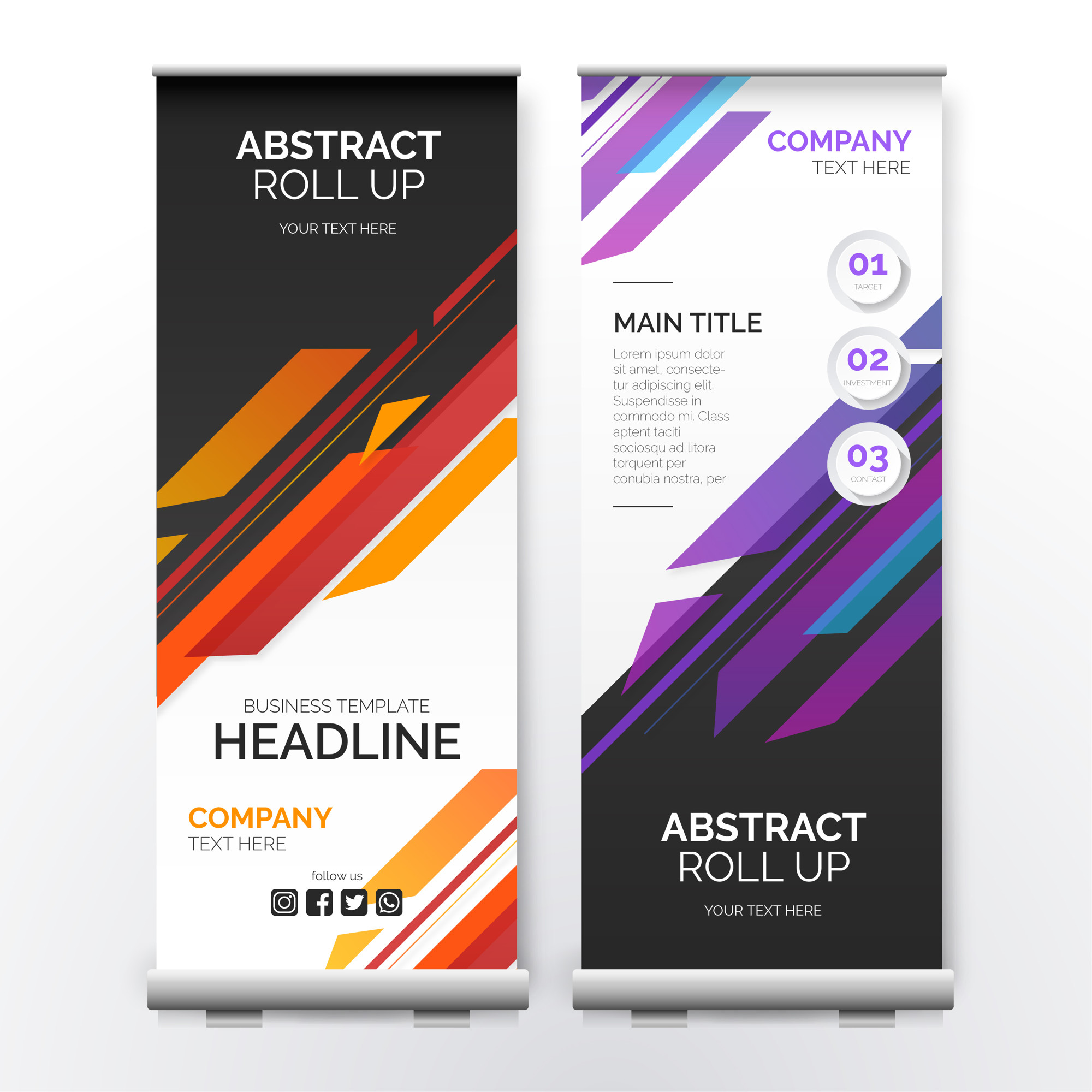 Roll up Banner with Modern Shapes
