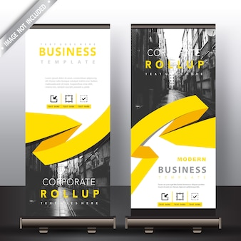 roll up banner with yellow ribbon detailed