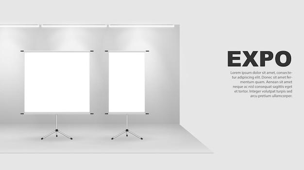 バナーをロールアップ広告看板プロモーション白いポスターモックアップ空の情報スタンドテンプレート