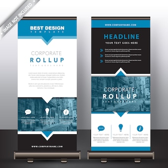 Roll up banners in blue detailed