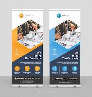 Сверните бизнес-баннер дизайн вертикальный шаблон
