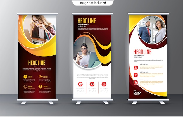 Roll up display standee template for presentation purpose and advertising