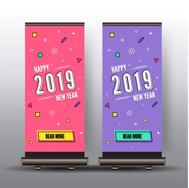 Roll up memphis style happy new year 2019 colorful