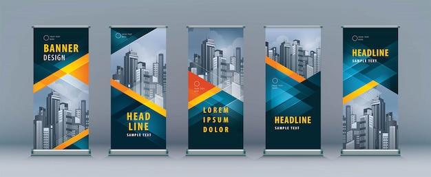 Roll up set. standee design. banner template, geometric triangle