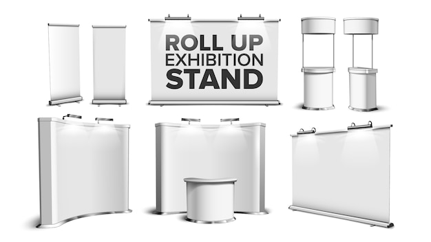 Roll up stand, fair desk, counter table set