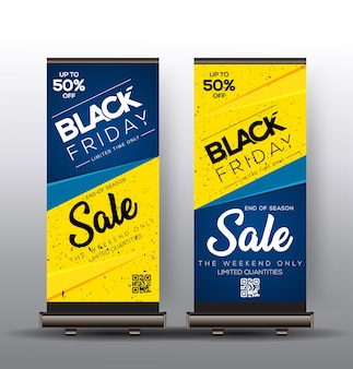Roll up template design with black friday sales