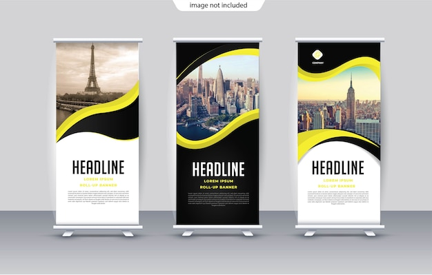 Roll up template for stand vertical banner
