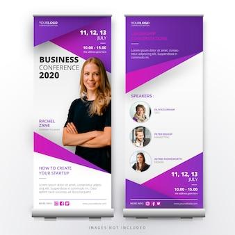 Современная бизнес-конференция roll up template
