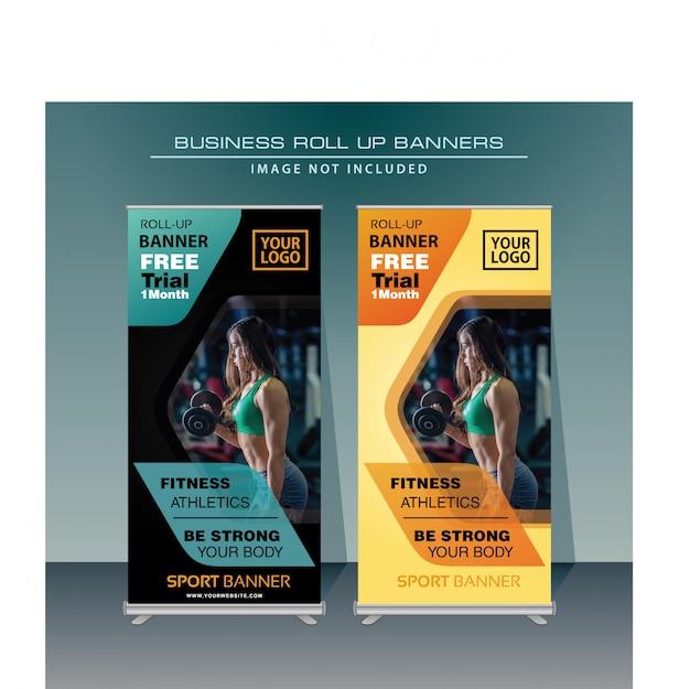 Спорт roll up баннер дизайн в
