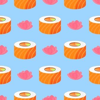 サーモンと生姜を添えて転がします。シームレスなパターン。