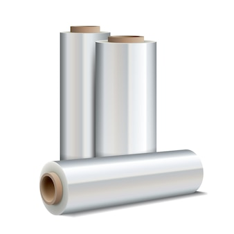 Roll of wrapping plastic stretch film isolated on white