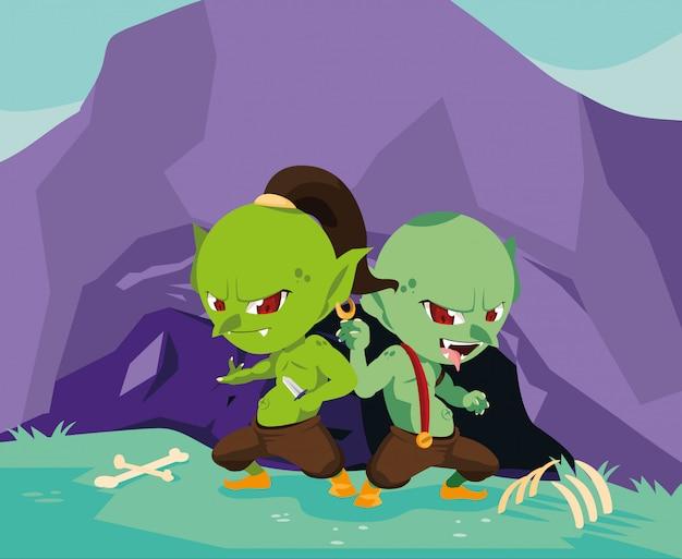 洞窟と骨でおとぎ話のrollいトロール